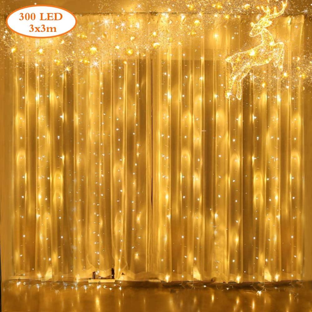 Carnaval,Fiesta Blanco C/álido YUE GANG LED Luces de Cortina con 8 Modos de Luz 300 LED Twinkle String Light para Ventanas,Jard/ín,Balc/ón Perfecto para Decoraci/ón de Navidad,D/ía de San Valent/ín