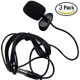 HUACAM YYPJ-01-1 3.5mm Hands Free Computer Clip on Mini Lapel Microphone (3 X Lapel Microphone)