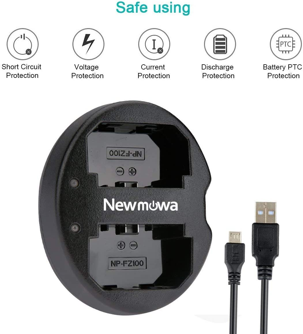 Newmowa Dual USB Charger for Sony NP-FZ100, BC-QZ1 and Sony a6600, Alpha 9, Sony A9, Sony Alpha 9R, Sony A9R, Sony Alpha 9S, Sony A7RIII, A7R3, Sony ...
