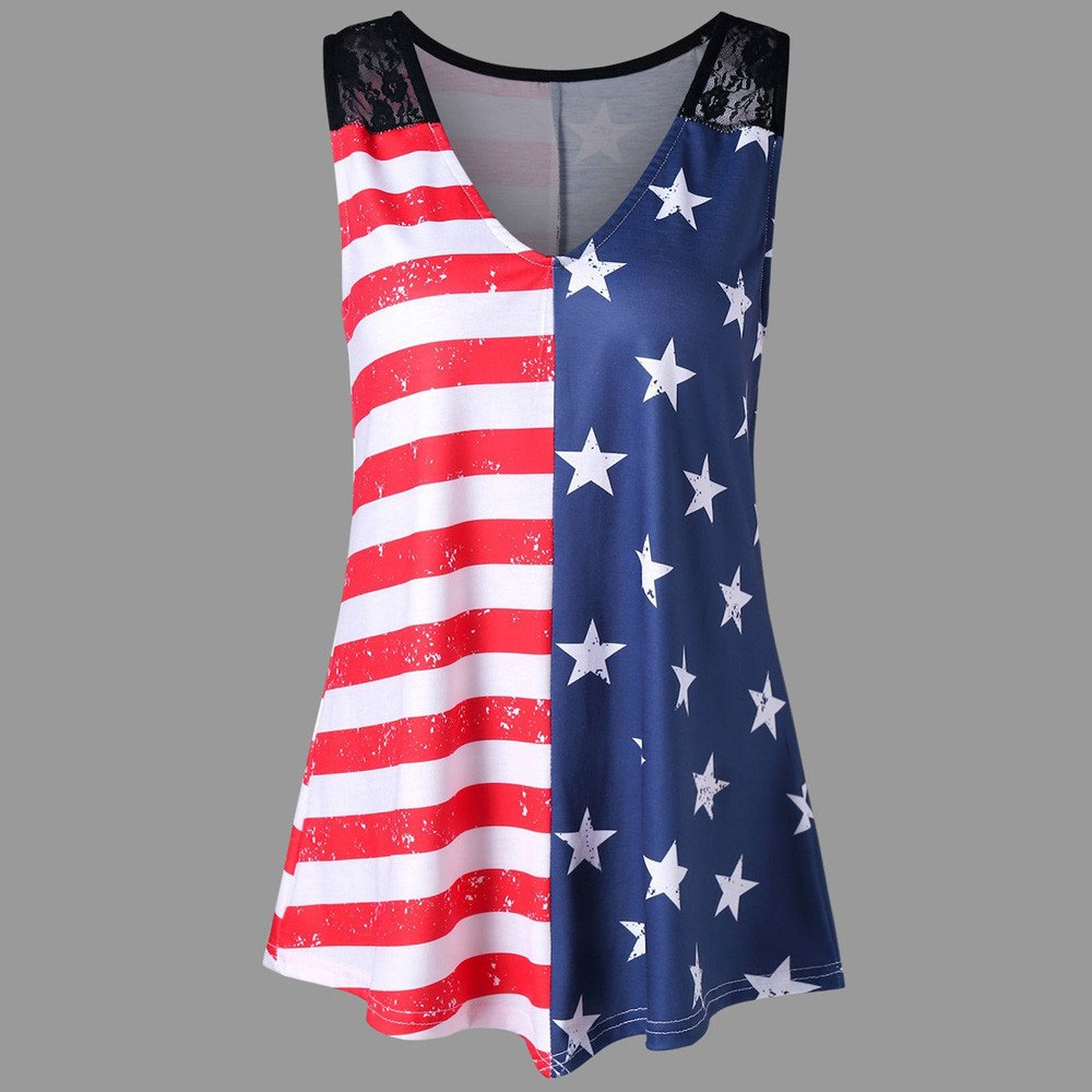 JFLYOU Women American Flag Print Lace Loose Casual Insert V-Neck Tank Tops Shirt Blouse(Multicolor,2XL) by JFLYOU-tank top (Image #5)
