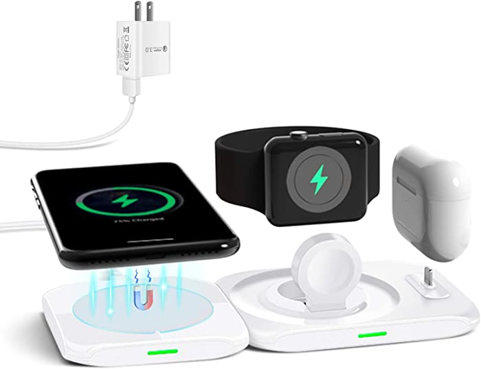 CIVPOWER Wireless Charger,4 in 1 Charging Station Compatible for Apple Watch Series,Airpods Pro/Airpods,MagSafe Fast Wireless Charging Pad for iPhone 12/Pro/Pro Max/Mini(18W Adapter Included)