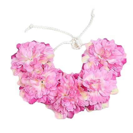 Uesae Diadema de flores florales diadema flor diadema flores artificiales  ajustable para mujeres niñas boda playa 88973ef9767