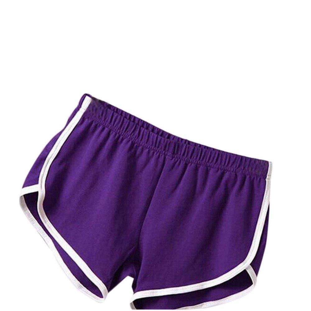 TRENDINAO Women's Summer High Waist Casual Shorts, New Pants Women Sports Shorts Gym Workout Waistband Skinny Yoga Short Purple