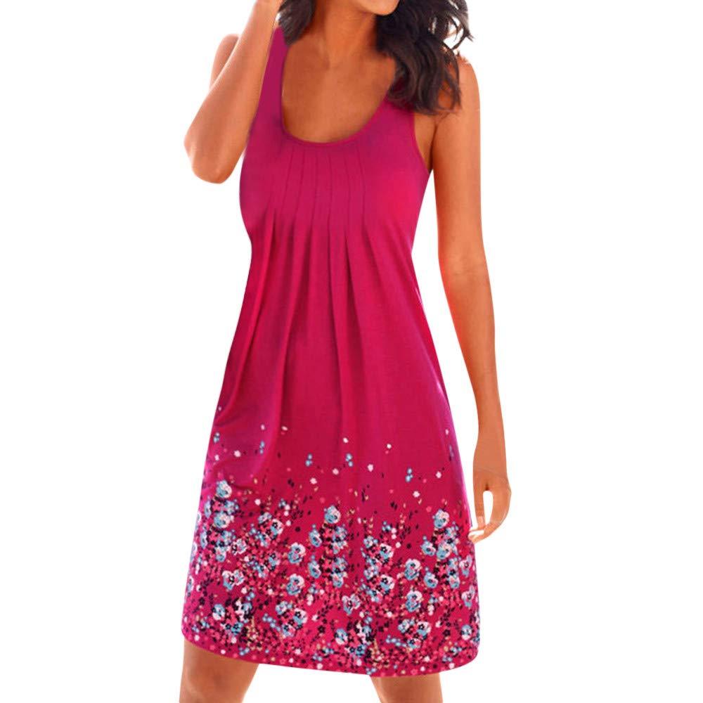 Women Bohemian Sundress Summer Loose Floral Printed Casual A Line Mini Vest Dresses Sleeveless Tank Dress (Hot Pink A, M)