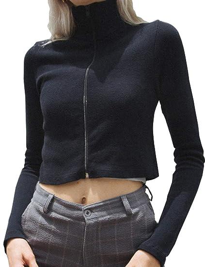 07ea546bc37 Women s Crop Top Teen Girls Zip Up Turtle Neck Shirt Sweater Jacket  Sweatshirt Jumper Pullover Tops