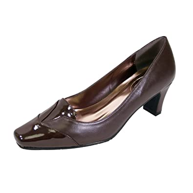 5961d46bc Peerage Shannon Women Extra Wide Width Square Closed Toe Mid-Heel Pump  Brown 6
