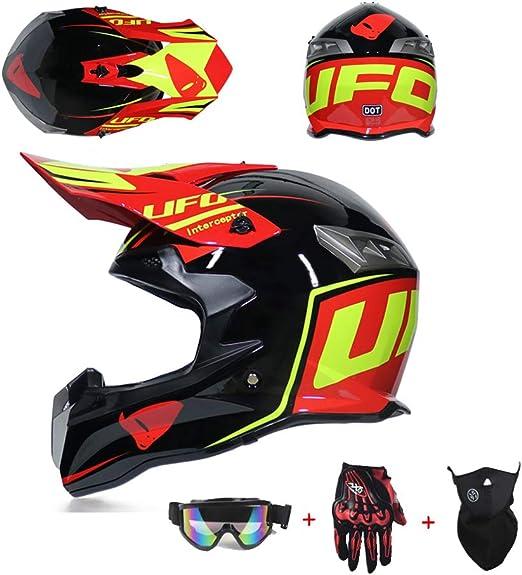 Xiami Motocross Bmx Helm Set Rot Und Schwarz Mit Brille Handschuhe Maske Motorrad Crosshelm Enduro Mtb Fullface Fahrrad Cross Motorradhelm Sowohl Männer Als Auch Frauen Können Tragen Sport Freizeit