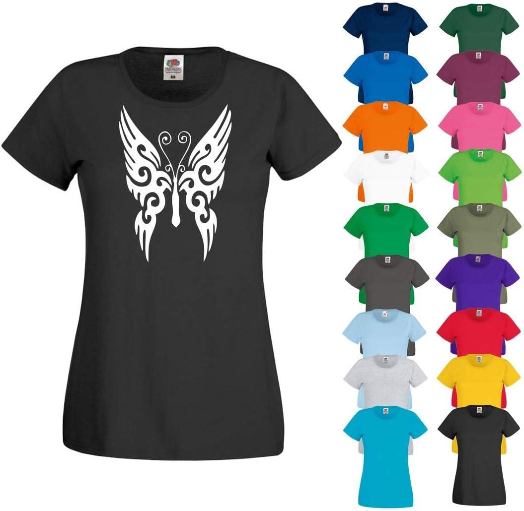 Printized Camiseta de Manga Corta con diseño de Mariposas Tribal de CRE8, para Mujer, Camiseta, Mujer, Color Girasol, tamaño XX-Large: Amazon.es: Deportes y aire libre