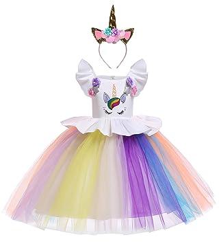 Le - SSara Traje de Unicornio Vestido de cumpleaños de Arco Iris Vestidos de Noche de Flores Tutu Vestido (130, E78-white)