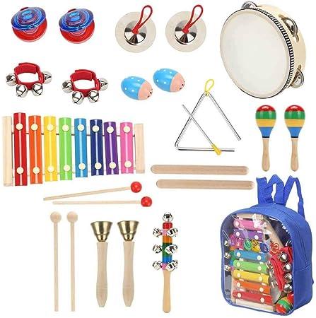 Sokoni - Set de instrumentos musicales para niños con xilófono y triángulo con mochila de almacenamiento y libro electrónico de actividades de Blaize