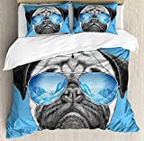 Pug Duvet Cover Set Twin Size, Pug Portrait with Mirror Sunglasses Hand Drawn Illustration of Pet Animal Funny, 4 piece Bedding Set Bedspread for Childrens/Kids/Teens/Adults, Pearl Blue Black
