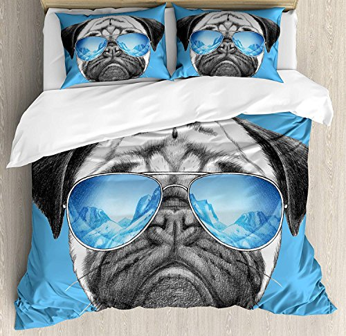 (Pug 3D Duvet Cover Sets Bedspread for Adult Kids, Fitted Sheet, Pillowcase King Size, 4pc Luxury Bedding Set Pug Portrait with Mirror Sunglasses Hand Drawn Illustration of Pet Animal Funny)