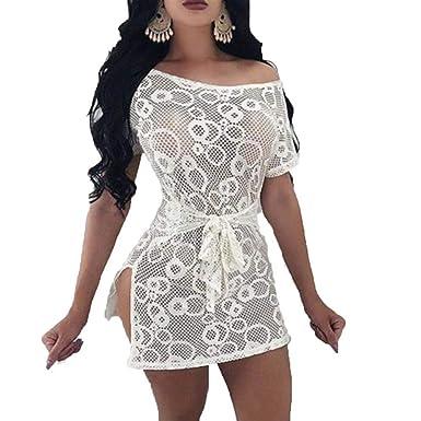 Frecoccialo Nuisette Femme Hyper Sexy Col Large Ouverture Marquer à la  Tailler Ceinture à Nouer en Dentelle Babydoll Robe Lingerie Coquine   Amazon.fr  ... ea33049e435
