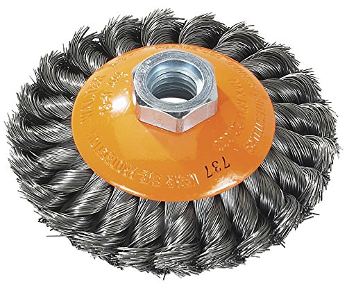 """Walter Surface Technologies 13H604 Saucer-Cup Knot-Twisted Wire Brush, Threaded Hole, Carbon Steel, 6"""" Diameter, 0.020"""" Wire Diameter, 5/8""""-11 Arbor, 12500 Maximum RPM, Orange"""
