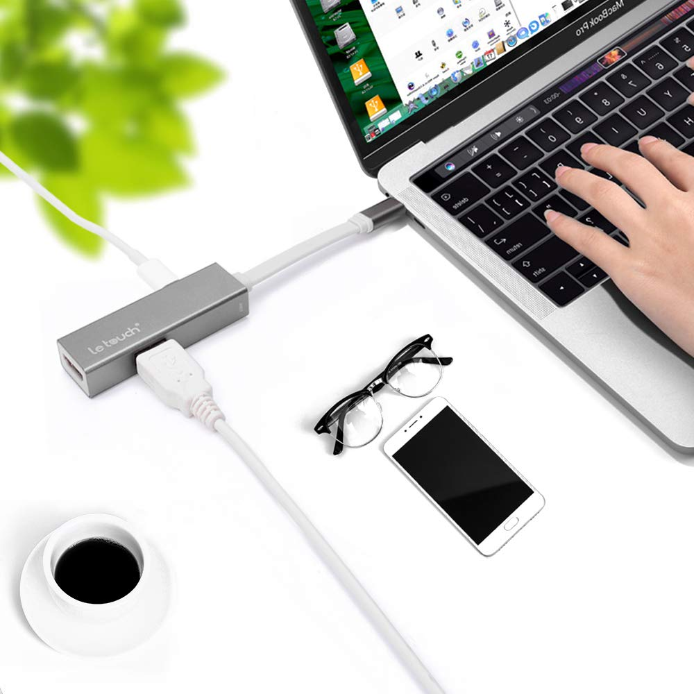USB C Hub,Letouch 8-in-1 Type C Multi-Port Adapter with Charging Port, 4K HDMI Output,SD/TF Card Reader, 3 USB 3.0 Ports,Gigabit Ethernet RJ45 Port for MacBook & MacBook Pro 2018/2017/2016 13'' 15'', HP Chromebook(Aluminum Space Gray)