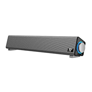 Sound Bar, TaoTronics Wired Computer Speakers Portable Soundbar, Stereo USB Powered Mini Sound Bar Speaker for PC Cellphone Tablets Desktop Laptop (Renewed)