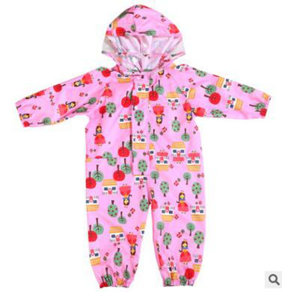 VANORIG Environmentable Odorless Children One- Piece Raincoat Cartoon Outwear Raincoat For Baby Girls & Boys(Pink, S) by VANORIG