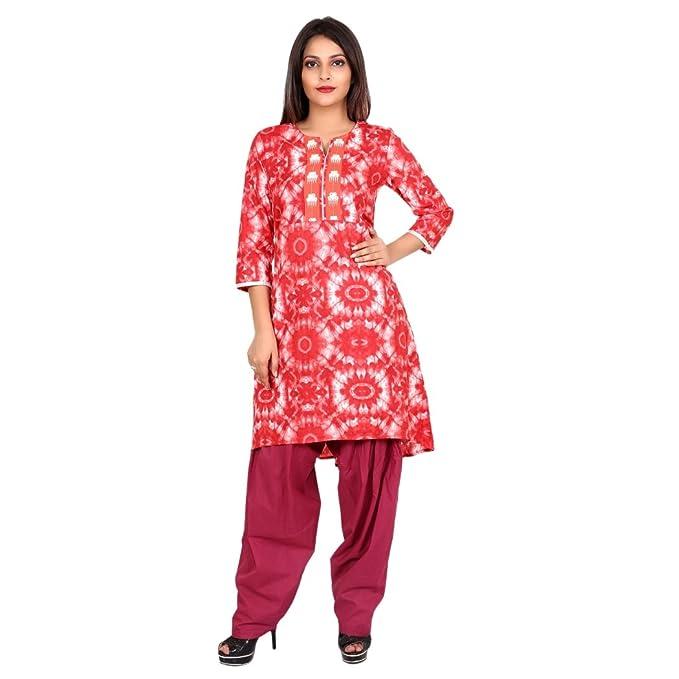 4d2e5d48de51 Teej Red Printed Designer Embroidered Readymade Salwar Kurta Suit ...