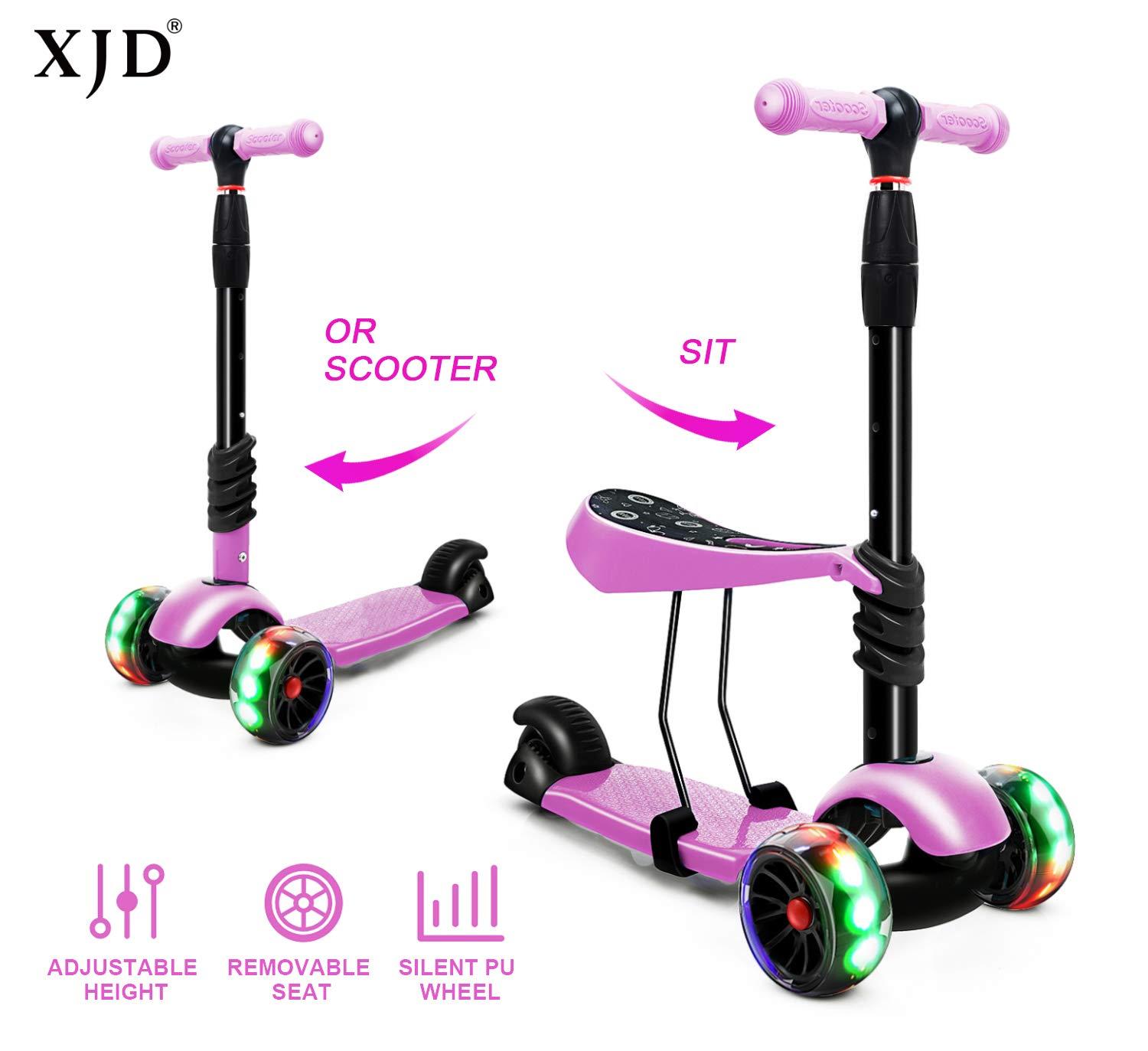 XJD 2 in 1 Toddler Scooter Kids Kick Scooter with Removable Seat Scooter for Kids Boys Girls Adjustable Height Extra Wide Deck PU Flashing Wheels for Children from 2 to 8 Years Old