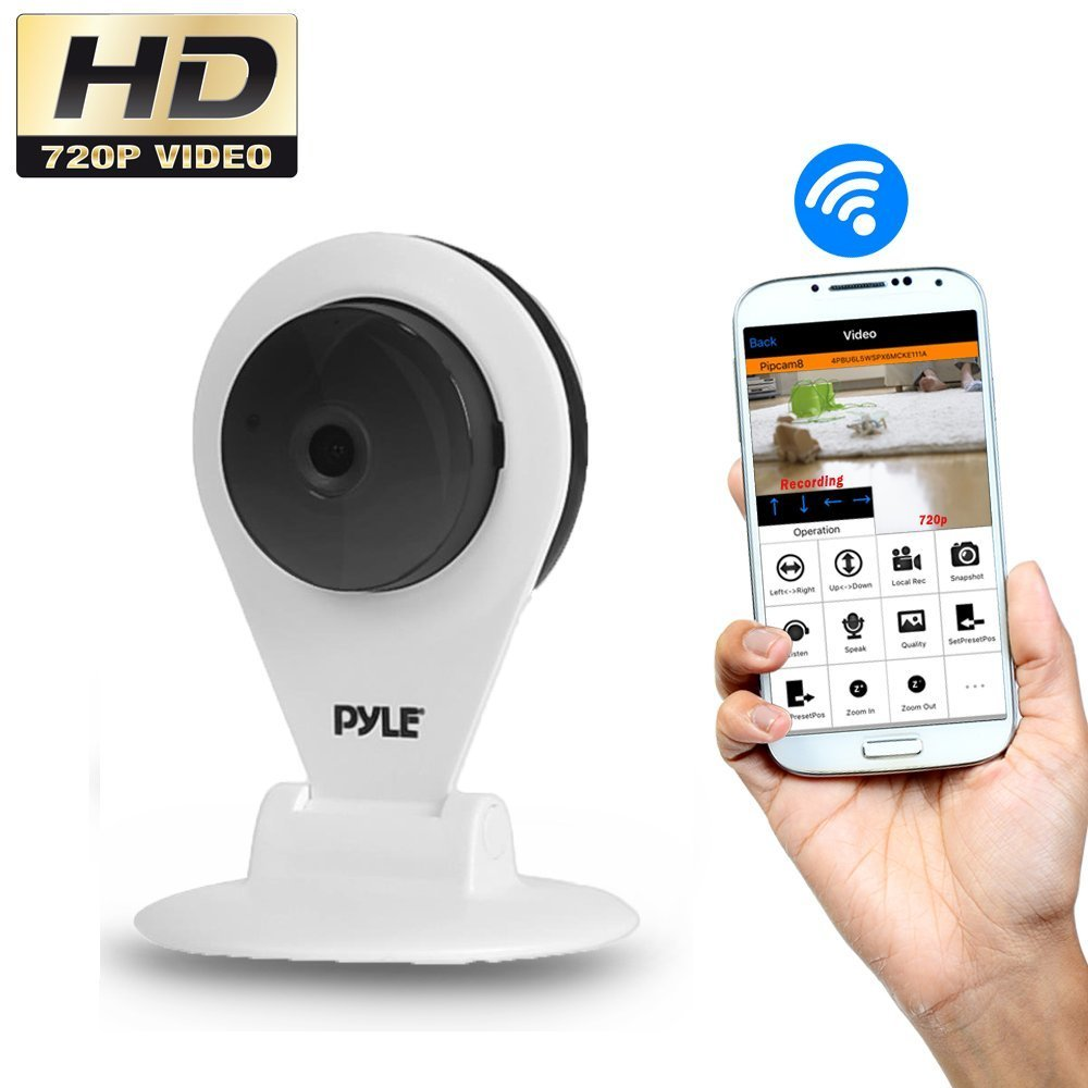 Pyle PIPCAMHD22WT HD 720p Wireless Remote Surveillance Camera with Built-in Speaker and Microphone (White) [並行輸入品] B01KBRB8MA