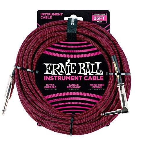 (Ernie Ball Instrument Cable, Red/Black, 25 ft)
