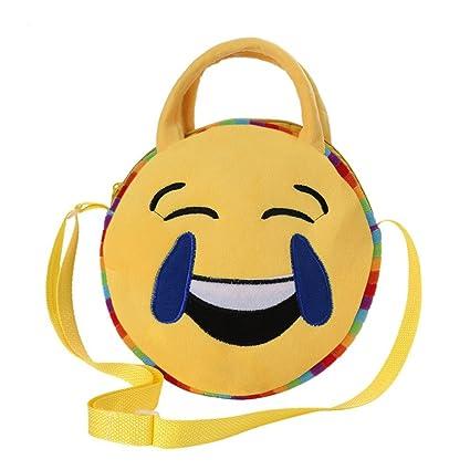 swiduuk Fashion Lovely Kids redondo Emoji Face Emoticon peluche hombro Cruz Cuerpo escuela bolsa regalo,