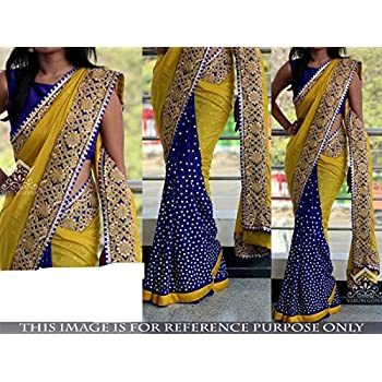 63b2b7fb0918da Indian Trends Exclusive Designer Blue and Yellow Grorgette Bollywood Replica  Saree
