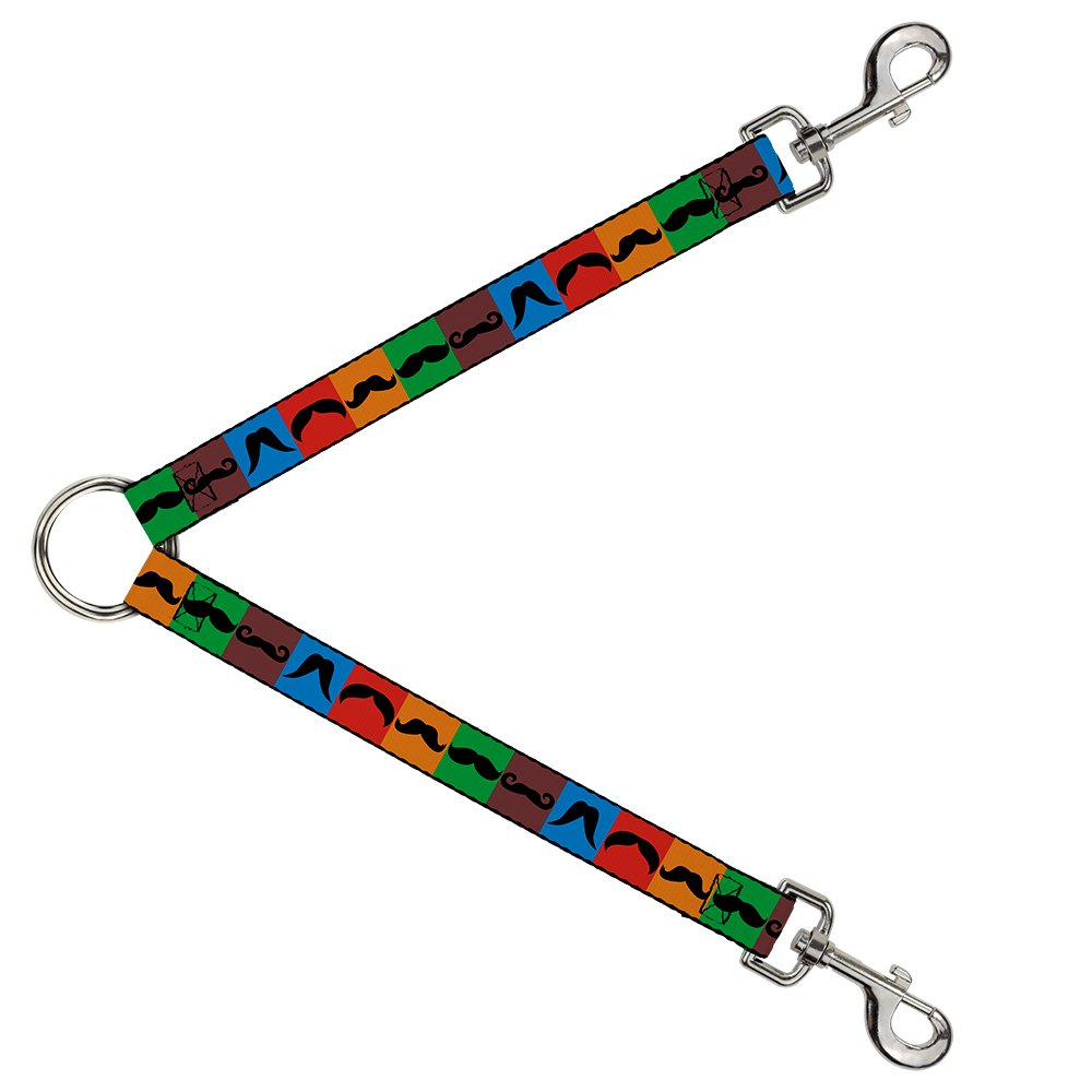 Buckle-Down DLS-W31365 Leash Splitter-Mustaches Multi color Blocks Black, 1  W-30  L