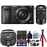 Sony Alpha A6000 Mirrorless Digital Camera with 16-50mm and 55-210mm Lens Top Accessory Kit For Sale