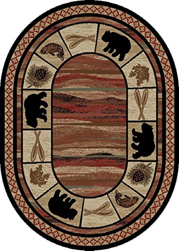 Rustic Lodge, Bear Cabin 5x7 Oval Area Rug, 5'3
