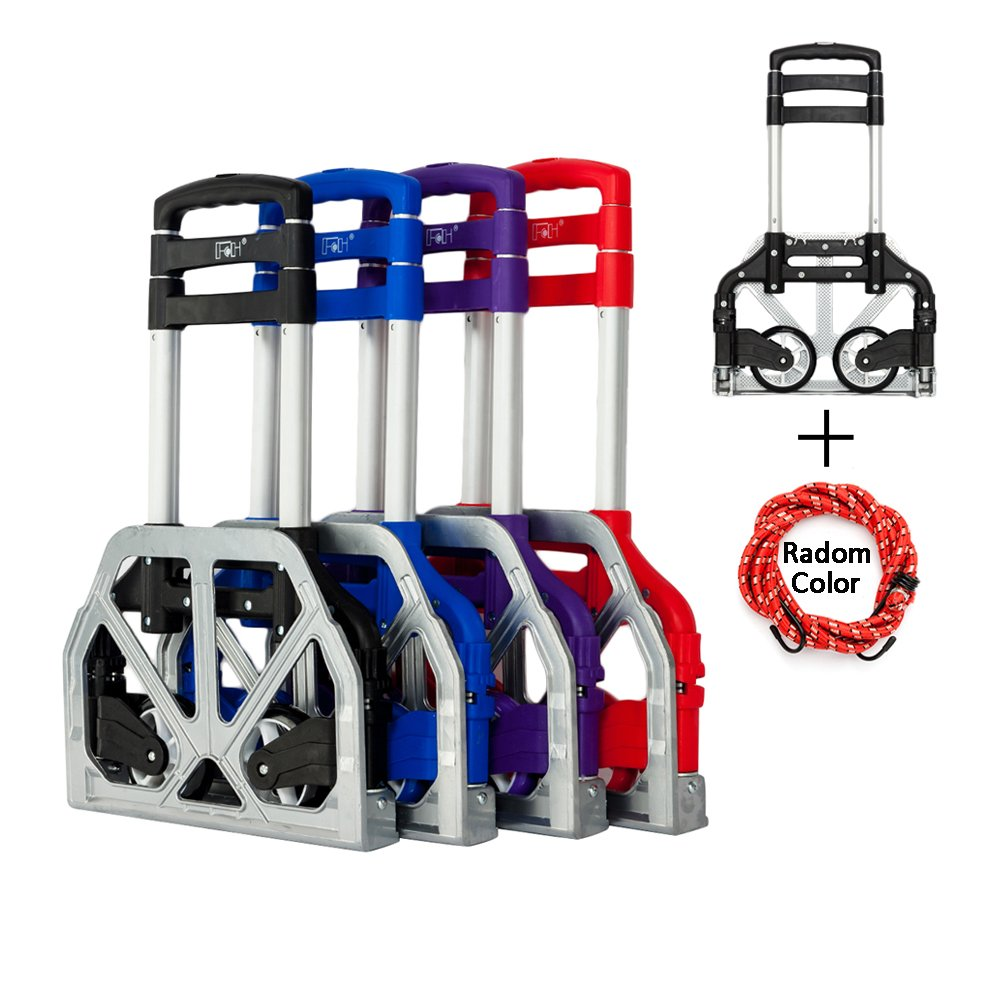 FCH Folding Hand Truck Aluminum Portable Folding Hand Trolley Cart with Wheels Supports up to 150Lbs Capacity Lightweight Hand Cart with Bungee Cord