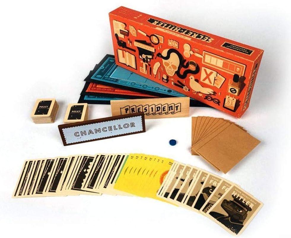 VJUKUBWINE Hitler Secreto Juego de Mesa Anti-Humano Tarjeta Secreto Hitler inglés edición Juego de Puzzle una Tarjeta de Identidad Oculta Juegos para la Familia y los Amigos del Partido