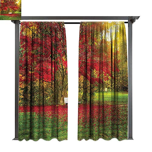 (cobeDecor UV Protectant Indoor Outdoor Curtain Panel Tree Bench in The Park Maple Leaves for Lawn & Garden, Water & Wind Proof W120 xL108)
