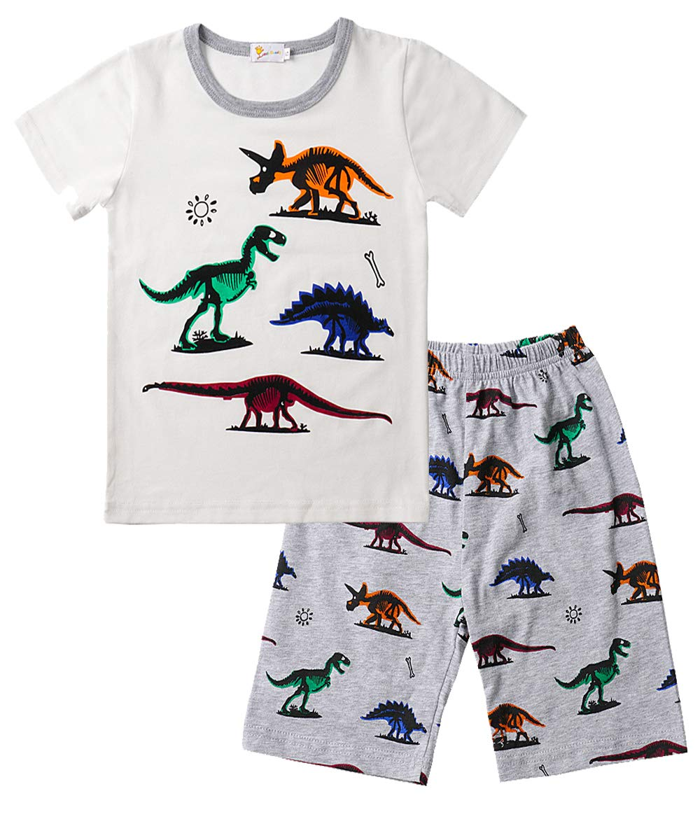 Gorgeya Boys Pyjamas Kids Pjs Dinosaur Print 100/% Cotton Toddler Boys Outfits Short Sleeve 2 Pieces Summer Sleepwear Shirts and Pants 1-7 Years
