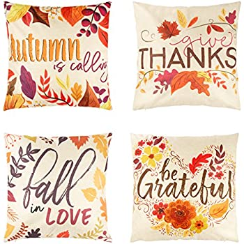 Juvale Thanksgiving Throw Pillow Covers - 4-Pack Colorful Decorative Couch Throw Pillow Cases, Autumn Fall Foliage Harvest Design, Country Style Home Decor Cushion Covers, Fits 18 x 18 Pillows