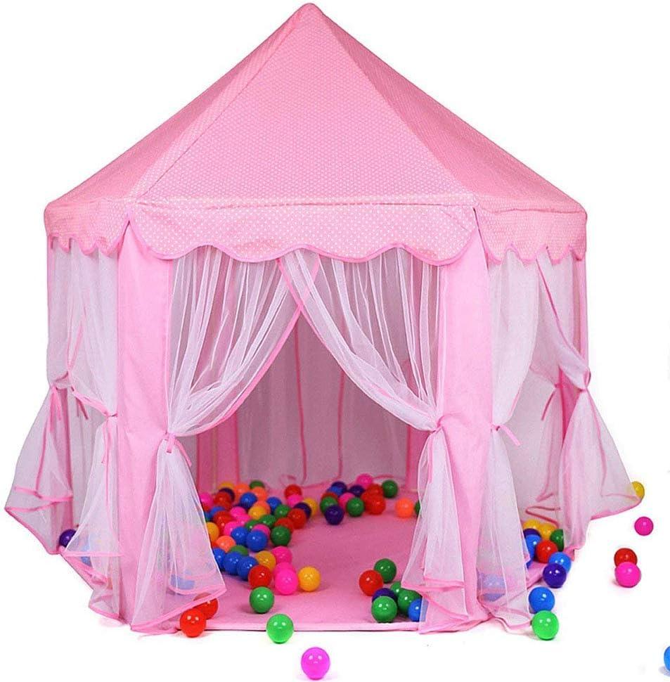 GFEI Princess Castle Tent Large Play House Tent - Dollhouse Carpa Playhouse para Exteriores e Interiores - para niños de 1-8 años de Edad,Pink,53x55in