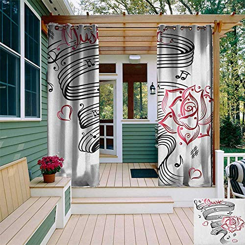 leinuoyi Tattoo, Outdoor Curtain Ties, Language of Love Valentines Musical Inspiration on Sheet with Rose Hearts, for Patio Waterproof W108 x L96 Inch White Black and Pink