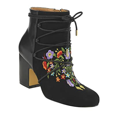 FO74 Women's Embroidered Lace Up Side Zip Wrapped Block Heel Booties