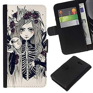 Be-Star la tarjeta de Crédito Slots PU Funda de cuero Monedero caso cubierta de piel Sony Xperia M2 ( Skull Bride Skeleton Death Floral Girl )