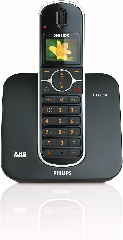 Philips Sound - Teléfono (Altavoz, 200 entradas, Identificador de Llamadas, Negro): Amazon.es: Electrónica