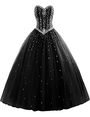 0b987ec02ef M Bridal Women s Rhinestones Strapless Lace-up Puffy Ball Gown Quinceanera  Dress Black Size 2