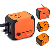New Universal Travel Adapter Electric Plugs Sockets Converter Uk/EU/US/AU with Dual USB Charging 2.4A LED Power Indicator Electric Plugs UK EU US AU International Travel Plug Adaptor Charge (Orange)