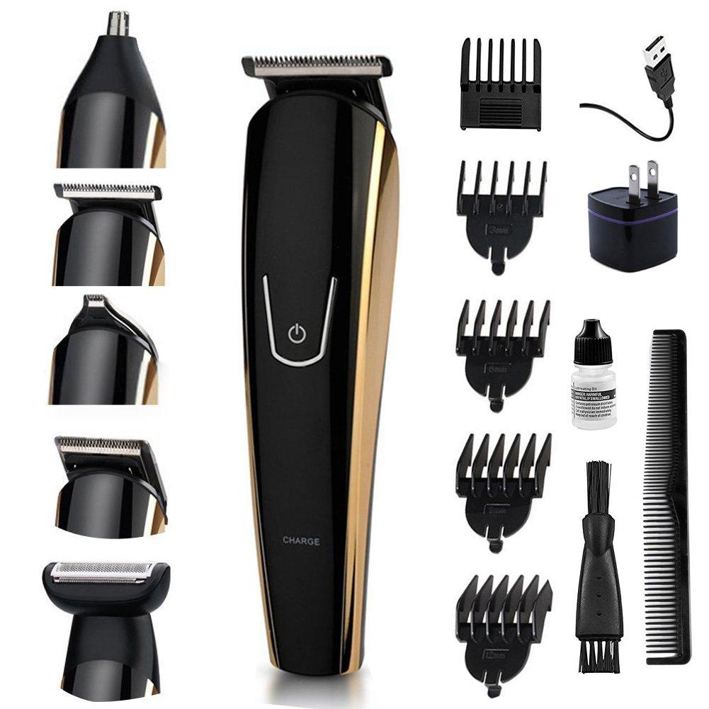 5 in 1 Mens Beard Trimmer Kit Rechargeable Body Mustache Trimmer Nose/Ear Hair Trimmer Grooming Trimmer Kit Body Grommer for Men Waterproof Cordless USB&Plug