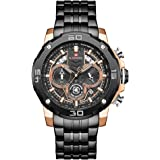 Naviforce Men's Black Dial Stainless Steel Analogue Classic Watch - NF9175-RGB