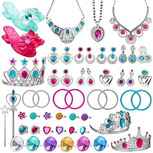 WATINC 58Pack Princess Pretend Jewelry Toy, Girl's Jewelry Dress Up Play Set, Included Shoes, Crowns, Necklaces, Wands, Rings, Earrings and Bracelets, 58 Pack ()