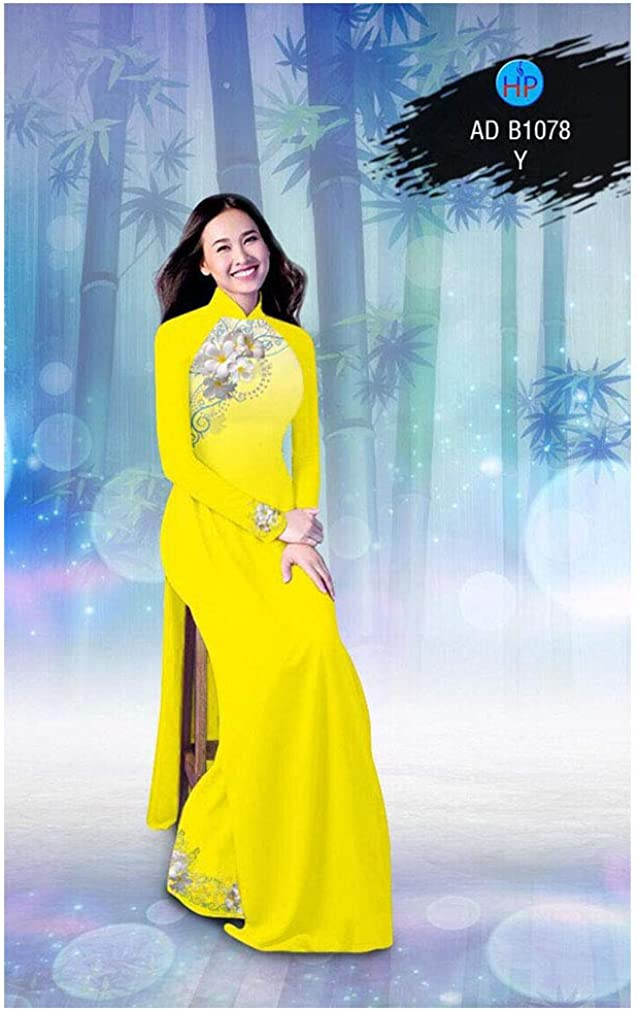 Ao Dai Silk 3D ADVN0405202214 Traditional Vietnamese Long Dress Collections with Pants