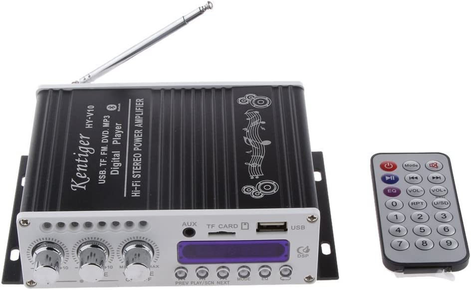 WINGONEER Mini Bluetooth estéreo de Alta fidelidad de Audio Amplificador AMP Bass Booster MP4 12V de la Ayuda FM / MP3 / TF/USB / DVD para Coche de la Motocicleta del Coche automático de CD DVD