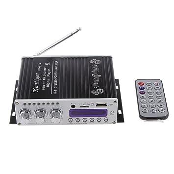 WINGONEER Mini Bluetooth estéreo de alta fidelidad de audio amplificador AMP Bass Booster MP4 12V de la ayuda FM / MP3 / TF / USB / DVD para coche de ...