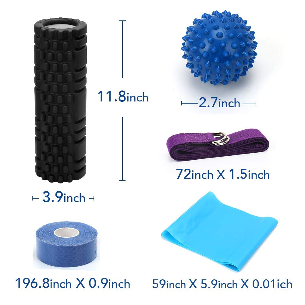 CleanDell Foam Roller,Massage Roller Set-Yoga Strap,Massage Ball,Stretch Band,Muscle Tape+ Yoga Roller Carry Bag - Deep Tissue Massage and Trigger Point Therapy Accessory Set