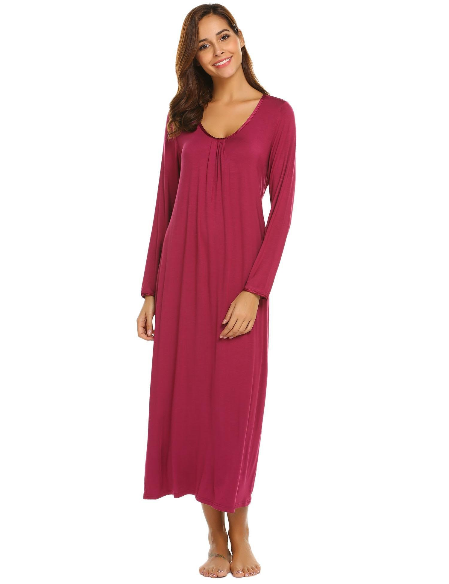Yealsha Womens Long Sleeve Sleep Dress Oversized Loose Fit Sleep Gown Nightshirts Cherry Red L